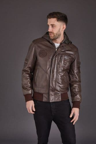 Men's Leather Bomber in Brown: Rourke